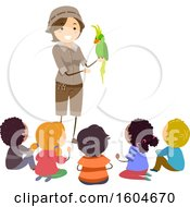 Clipart Of A Zookeeper Discussing A Parrot With Children Royalty Free Vector Illustration