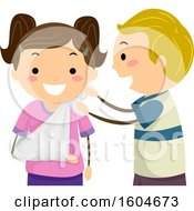 Clipart Of A Boy Bandaging Up A Girls Arm In A Sling Royalty Free Vector Illustration