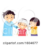 Clipart Of A Teacher Instructing Children On How To Apply A Head Bandage Royalty Free Vector Illustration by BNP Design Studio
