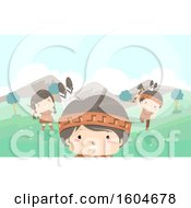 Clipart Of A Group Of Native American Children Playing In A Meadow Royalty Free Vector Illustration