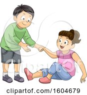 Clipart Of A Boy Helping A Girl Stand Up Royalty Free Vector Illustration