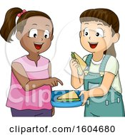 Clipart Of A Girl Sharing A Sandwich With Her Friend Royalty Free Vector Illustration