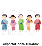 Clipart Of A Group Of Japanese Children Wearing Colorful Kimonos Royalty Free Vector Illustration