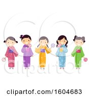 Group Of Japanese Girls Wearing Colorful Kimonos And Holding Fans