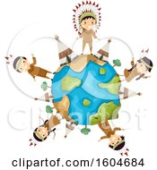 Clipart Of A Group Of Native American Children And Tipis Around A Globe Royalty Free Vector Illustration