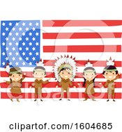 Poster, Art Print Of Group Of Native American Children In Front Of An American Flag
