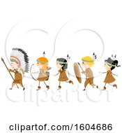 Clipart Of A Group Of Children In Native American Constumes With Hunting Gear Royalty Free Vector Illustration