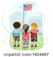 Clipart Of A Rear View Of Children Saluting The American Flag Royalty Free Vector Illustration