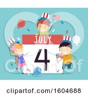 Clipart Of A July 4 Calendar With Celebrating Children On Blue Royalty Free Vector Illustration by BNP Design Studio