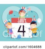 Poster, Art Print Of July 4 Calendar With Celebrating Children On Blue