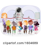 Clipart Of A Female Teacher And Students Looking At An Astronaut Pressure Suit In A Museum Royalty Free Vector Illustration by BNP Design Studio