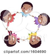 Clipart Of A Group Of Happy Black Children Holding Hands In A Circle Royalty Free Vector Illustration by BNP Design Studio