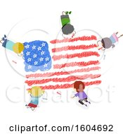 Poster, Art Print Of Group Of Children Coloring An American Flag