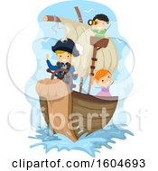 Clipart Of A Group Of Children Sailing A Pirate Ship Royalty Free Vector Illustration by BNP Design Studio