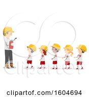 Clipart Of A Fireman Teaching A Line Of Children About Fire Extinguishers Royalty Free Vector Illustration