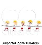 Clipart Of A Line Of Fire Fighter Children Holding A Hose Royalty Free Vector Illustration