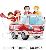 Clipart Of A Group Of Fire Fighter Children In A Truck Royalty Free Vector Illustration