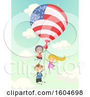 Poster, Art Print Of Group Of Children Flying With An American Flag Balloon