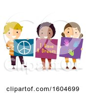 Clipart Of A Group Of Children Holding A Peace Sign I Have A Dream And Hand Print Board Royalty Free Vector Illustration
