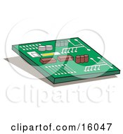 Computer Chip Or Motherboard Clipart Illustration