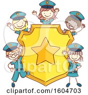 Clipart Of A Sketched Group Of Children In Police Uniforms Around A Badge Royalty Free Vector Illustration