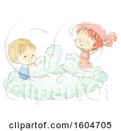 Clipart Of A Sketched Boy And Girl With Numbers On A Cloud Royalty Free Vector Illustration