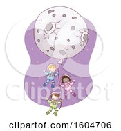 Sketched Moon Balloon With Child Astronauts