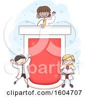 Poster, Art Print Of Sketched Giant Test Tube With Children In Lab Coats
