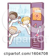Group Of Students Welcoming At A Science Lab Door