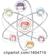 Clipart Of A Sketched Atom With Faces Of Children Royalty Free Vector Illustration