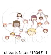 Poster, Art Print Of Sketched Molecule With Faces Of Children