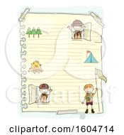 Clipart Of A Sketched Sheet Of Ruled Paper With Scout Boys Royalty Free Vector Illustration