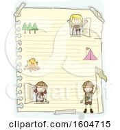 Clipart Of A Sketched Sheet Of Ruled Paper With Scout Girls Royalty Free Vector Illustration