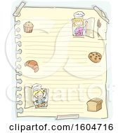 Clipart Of A Sketched Sheet Of Ruled Paper With Children Baking Royalty Free Vector Illustration