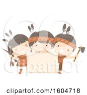 Clipart Of A Blank Sign And Happy Native American Children Royalty Free Vector Illustration