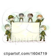 Sketched Group Of Boys In Camouflage Uniforms Around A Sign