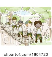 Sketched Group Of Boys Wearing Camouflage Uniforms And Crossing A Bridge