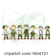Sketched Group Of Waving Boys In Camouflage Uniforms