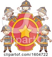 Clipart Of A Sketched Group Of Fire Fighter Children Around A Badge Royalty Free Vector Illustration