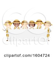 Blank Banner And Group Of Safari Children