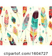 Clipart Of A Seamless Colorful Feather Background Royalty Free Vector Illustration