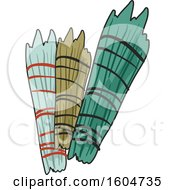 Clipart Of Native American Shaman Smudge Sticks Royalty Free Vector Illustration