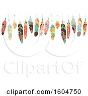 Clipart Of A Border Of Colorful Hanging Feathers Royalty Free Vector Illustration