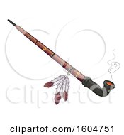 Clipart Of A Native American Ceremonial Pipe Royalty Free Vector Illustration