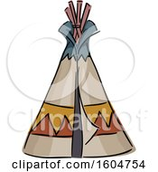 Clipart Of A Sketched Native American Tipi Royalty Free Vector Illustration
