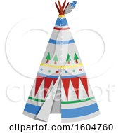 Clipart Of A Native American Tipi Royalty Free Vector Illustration