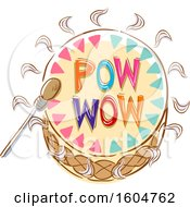 Clipart Of A Native American Indian Drum With Pow Wow Text Royalty Free Vector Illustration