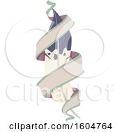 Clipart Of A Tribal Feather And Ribbon Banner Royalty Free Vector Illustration