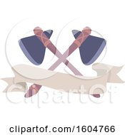 Clipart Of A Blank Banner With Crossed Axes Royalty Free Vector Illustration