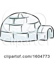 Clipart Of A Native American Igloo Dwelling Royalty Free Vector Illustration